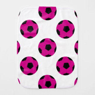 Pink and Black Soccer Ball Pattern Baby Burp Cloth