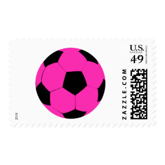 Pink and Black Soccer Ball Postage