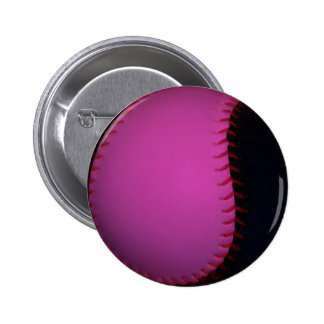 Pink and Black Softball Button