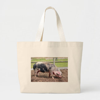 Pink and black sow large tote bag