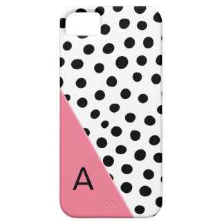 Pink and Black Spotted Monogram iPhone 5 Cases