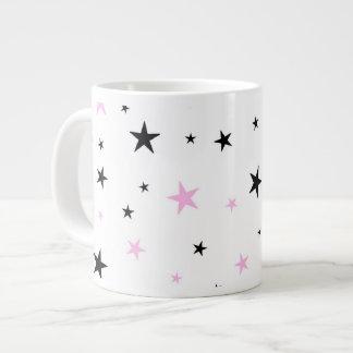 Pink and Black Star Jumbo Coffee Mug