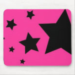Pink and Black Star Mousepad