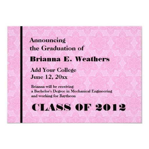 Pink and Black Star Texture New Grad Announcement