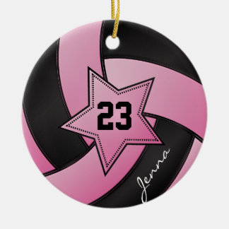 Pink and Black Star Volleyball Ceramic Ornament