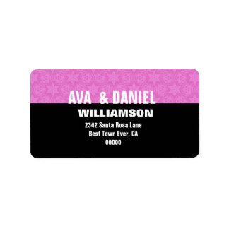 Pink and Black Stars Modern Simple G104 Label