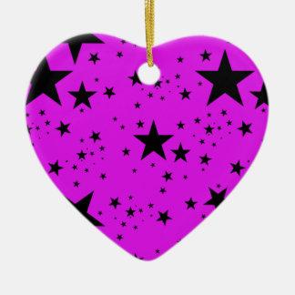 Pink and Black Stars pattern Ceramic Ornament