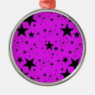 Pink and Black Stars pattern Metal Ornament