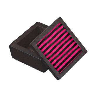 Pink and Black Stripe Background Keepsake Box