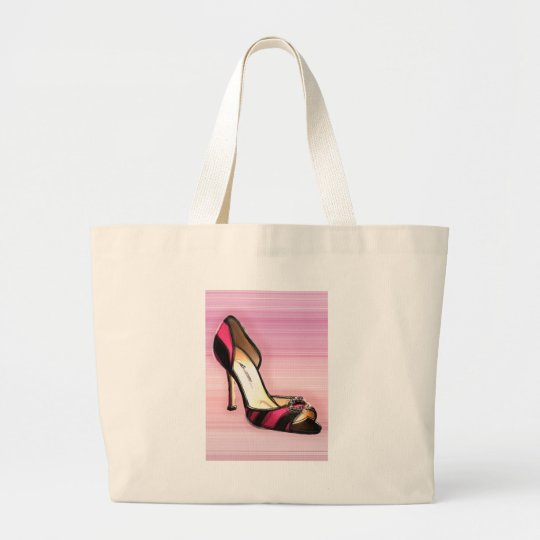 Pink and Black Stripe Large Tote Bag