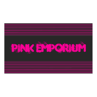 Pink and Black Striped Business Card