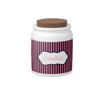 Pink and Black Striped Candy Jar