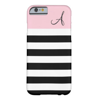 Pink and Black Striped Monogram iPhone 6 Case