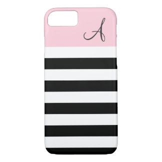 Pink and Black Striped Monogram iPhone 7 Case