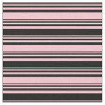 [ Thumbnail: Pink and Black Striped Pattern Fabric ]