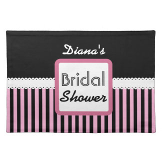 Pink and Black Striped Theme Bridal Shower A0 Placemat