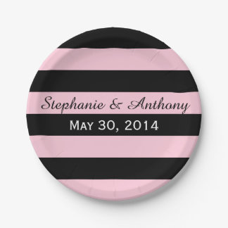 Pink and Black Striped Wedding Paper Plate