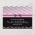 Pink and Black Striped with Bows Invitation postcard