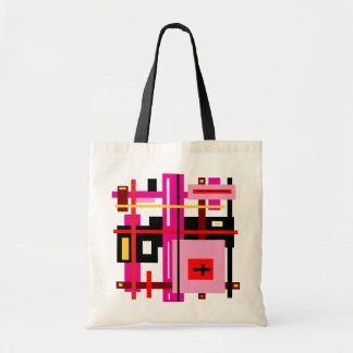 Pink and Black Stripes and Rectangles Tote Bag