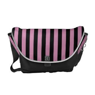 Pink and Black Stripes Messenger Bag
