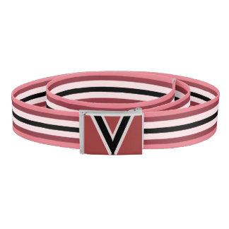 Pink and Black Stripes Monogram Belt