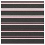 [ Thumbnail: Pink and Black Stripes Pattern Fabric ]