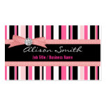 Pink and black stripes with bow plantilla de tarjeta de negocio