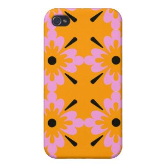 Pink and Black Surf Flowers iPhone 4/4S Covers