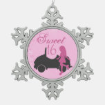 Pink and Black Sweet 16 Girl and Car Ornament