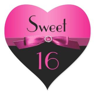 Pink and Black Sweet 16 Heart Shaped Sticker sticker