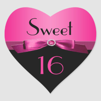 Pink and Black Sweet 16 Heart Shaped Sticker
