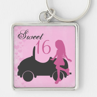 Pink and Black Sweet 16 Silhouette Girl with Car Silver-Colored Square Keychain