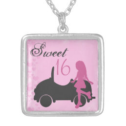 Pink and Black Sweet 16 Silhouette Necklace