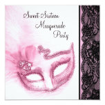 Pink and Black Sweet Sixteen Masquerade Party Personalized Invite