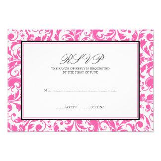 Pink and Black Swirl Damask Wedding Response Card Custom Invites