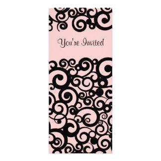 Pink and Black Swirl Valentine Invitation