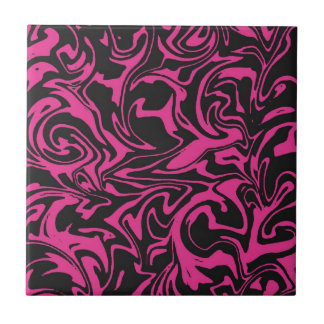 Pink And Black Swirled - Mix And Match Tiles
