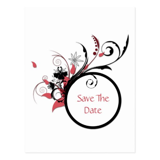 Pink and Black Swirls Save The Date Postcard