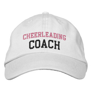 Pink and Black Text Cheerleading Coach Hat