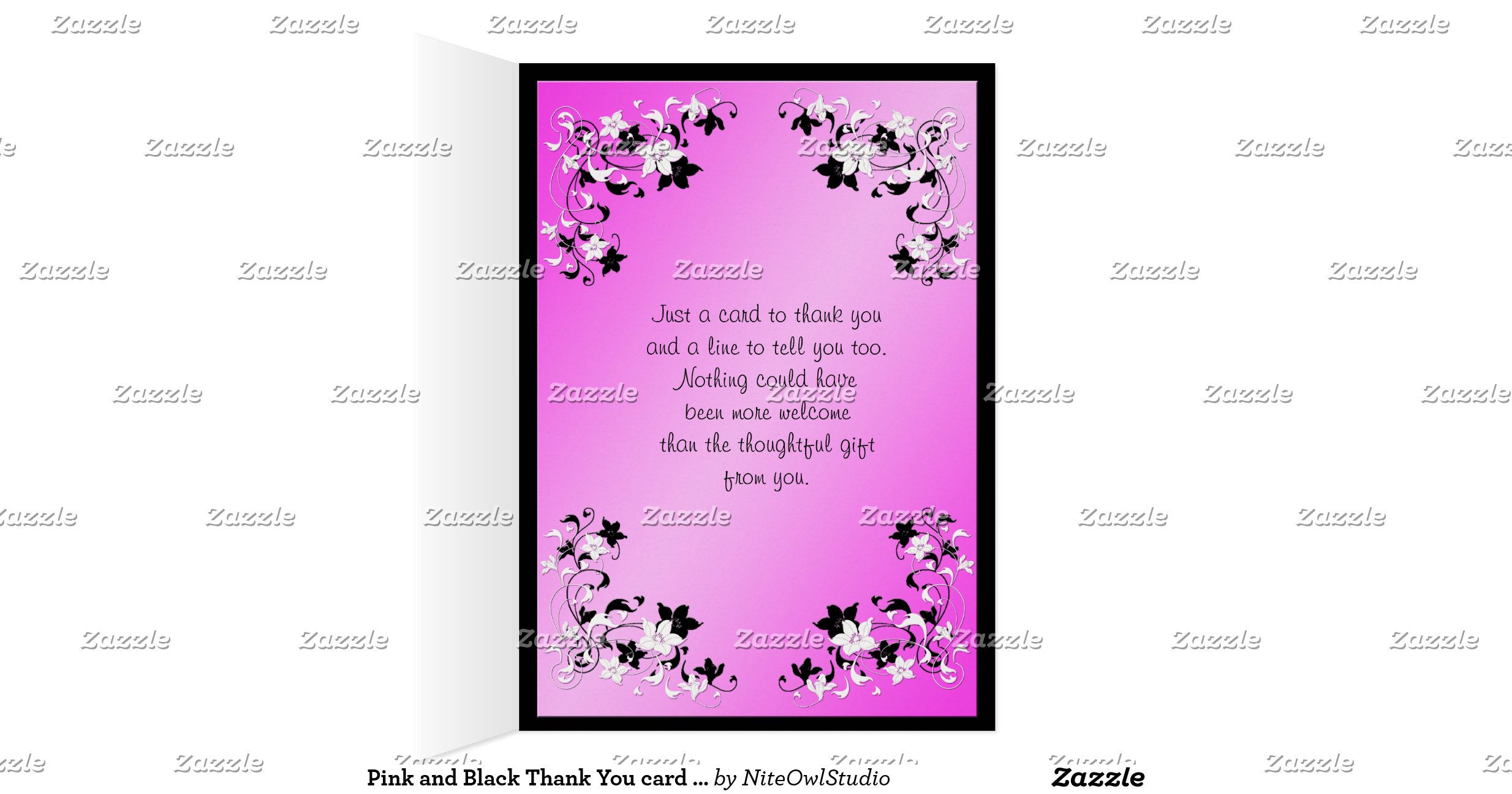 thank you card inserts pink and black thank you card with photo insert card zazzle