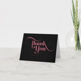 Pink and Black Thank You Cards card