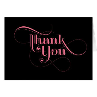 Pink and Black Thank You Cards