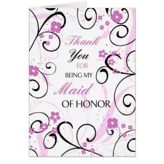 Pink and Black Thank You Maid of Honor Card