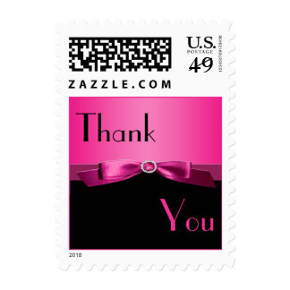 Pink and Black Thank You Postage