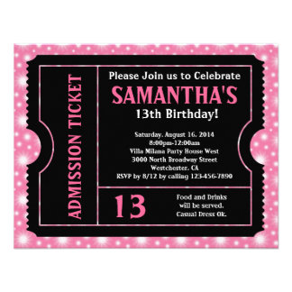 Pink and Black Ticket Invitation, Any Age