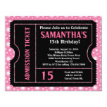 "Pink and Black Ticket Invitation, Any Age 4.25"" X 5.5"" Invitation Card"