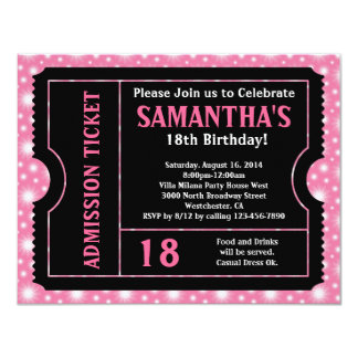 Pink and Black Ticket Invitation, Any Age 4.25x5.5 Paper Invitation Card