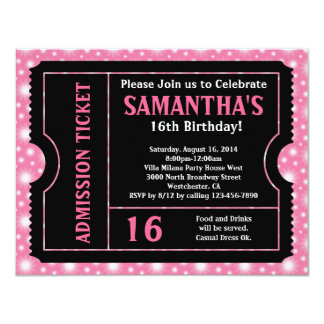 Pink and Black Ticket, Sweet 16 or Any Age 4.25x5.5 Paper Invitation Card