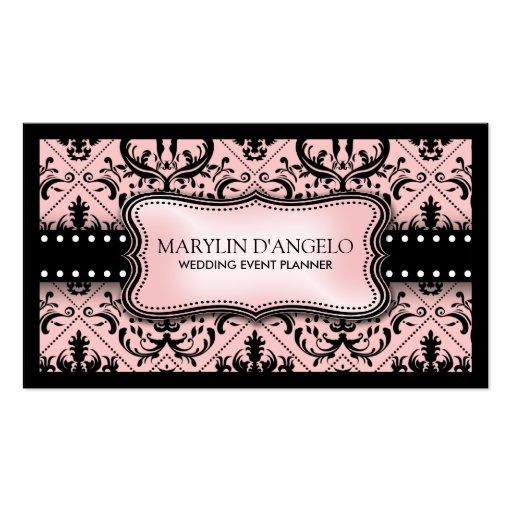 Pink And Black Vintage Damask Wedding Planner Business Card
