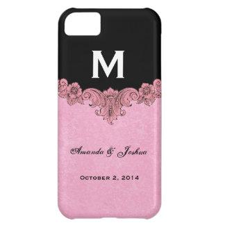 Pink and Black Vintage Monogram Wedding Favor V30 Case For iPhone 5C